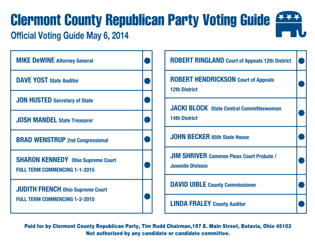 2014 Clermont County Republican Sample Ballot